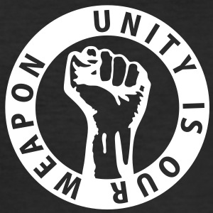 1 color - unity is our weapon - against capitalism working class war revolution Tee shirts - Tee shirt près du corps Homme