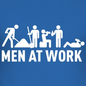 men at work - construction area - worker hard working T-shirts - slim fit T-shirt