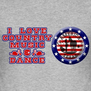 i love country music & dance america Tee shirts - Tee shirt près du corps Homme