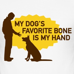 My dog's favorite bone is my hand - slim fit T-shirt