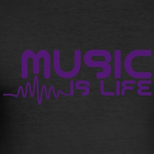 Music is life with pulse T-Shirts - Men's Slim Fit T-Shirt
