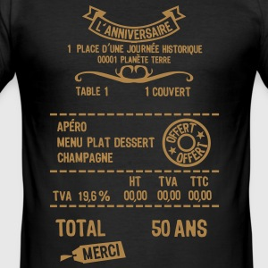 50 ans addition note resto restaur fact Tee shirts - Tee shirt près du corps Homme