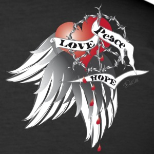 Love, Peace and Hope  T-shirts - Slim Fit T-shirt herr