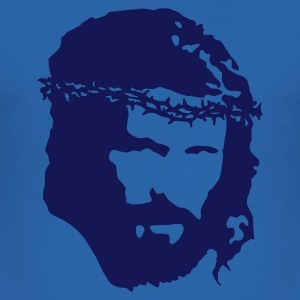 Himmelsblå Jesus-Head T-skjorte - Slim Fit T-skjorte for menn