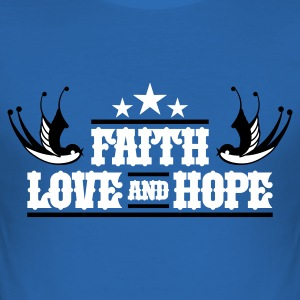 Royalblau FAITH LOVE HOPE T-Shirt - Männer Slim Fit T-Shirt
