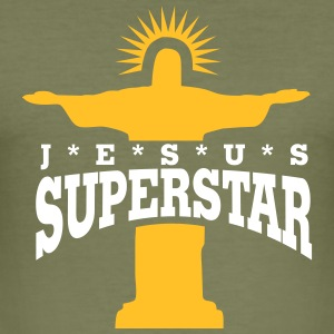 Olive Superstar T-Shirt - Männer Slim Fit T-Shirt
