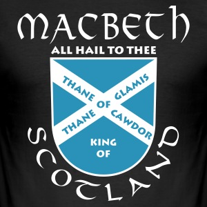 Schwarz Scotland Macbeth T-Shirt - Männer Slim Fit T-Shirt
