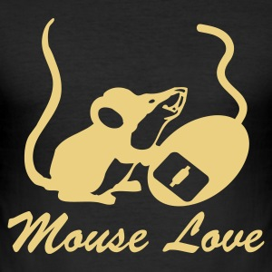 Sort Mouse Love T-Shirts - Herre Slim Fit T-Shirt