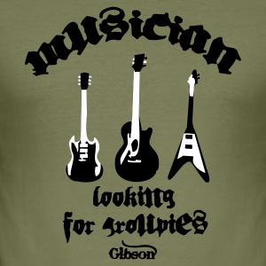 Brown Musician Looking for Groupies T-Shirts - Men's Slim Fit T-Shirt