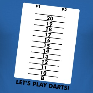 Koningsblauw Let's play darts, again and again Heren t-shirts - slim fit T-shirt