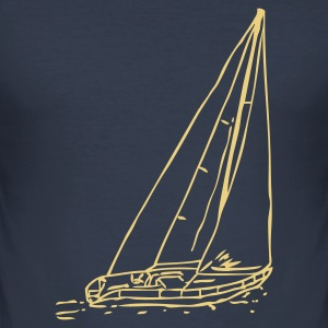 Dark navy sailboat T-Shirt - Männer Slim Fit T-Shirt