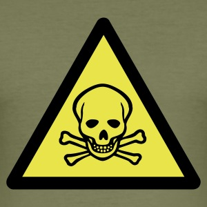 Brown sign_2c_warning_skull T-Shirts - Men's Slim Fit T-Shirt