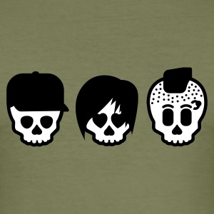 Olive three subculture skulls  T-Shirts (Kurzarm) - Männer Slim Fit T-Shirt