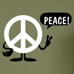 Olive peace sign T-Shirts (Kurzarm) - Männer Slim Fit T-Shirt