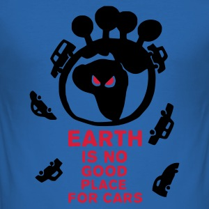 Azzurro Earth is no good place for carsEarth is no good place for cars T-shirt (maniche corte) - Maglietta aderente da uomo