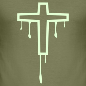 Oliven cross_kreuz_melting1 T-shirts - Herre Slim Fit T-Shirt