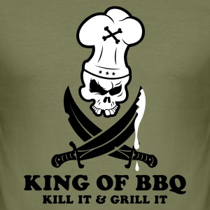 Olive KING OF BBQ T-Shirt - Männer Slim Fit T-Shirt