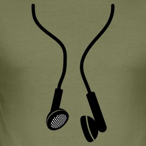 Olive huge earphones T-Shirts - Männer Slim Fit T-Shirt