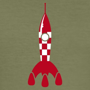 Braun rocket ship - rakete T-Shirts - Männer Slim Fit T-Shirt