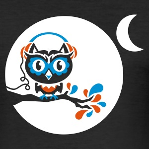 Schwarz night owl - for black shirts T-Shirts - Männer Slim Fit T-Shirt