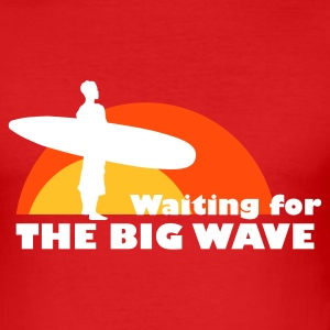 Rot surfing big wave T-Shirts (Kurzarm) - Männer Slim Fit T-Shirt