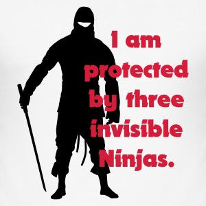 Vit I am protected by three invisible ninjas T-shirts - Slim Fit T-shirt herr