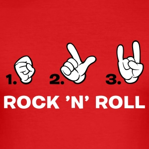Rot how to rock 'n' roll T-Shirts (Kurzarm) - Männer Slim Fit T-Shirt