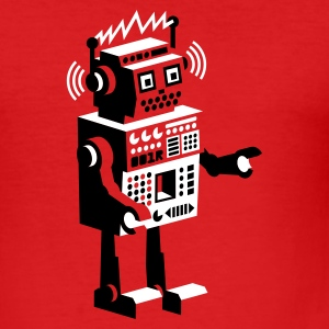 Wine roboter retro robot  T-Shirts - Men's Slim Fit T-Shirt