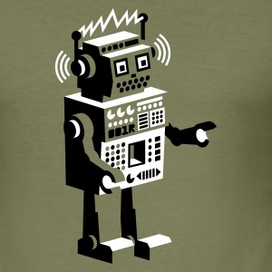 Olive roboter retro robot  Tee shirts - Tee shirt près du corps Homme