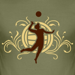 Camel volleyball_coat_of_arms_v2_2c Men's Tees - Men's Slim Fit T-Shirt