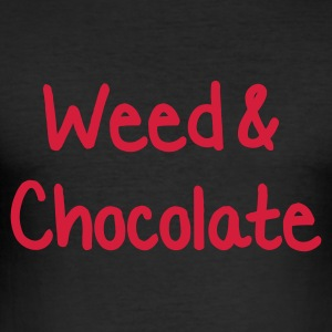 Svart Weed and Chocolate T-shirts - Slim Fit T-shirt herr