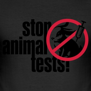 Eigelb ::STOP ANIMAL TESTS:: T-Shirts - Männer Slim Fit T-Shirt