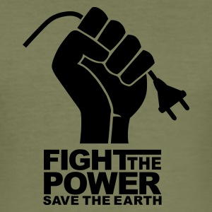 Brown Fight the power T-Shirt - Maglietta aderente da uomo