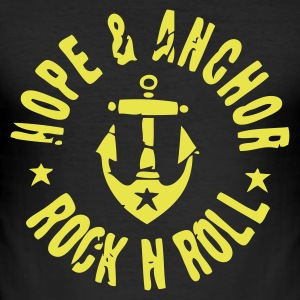 Hope & Anchor - Rock´n´Roll Shirt Schwarz/Gelb - Männer Slim Fit T-Shirt