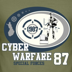 Olive Cyber Warfare Special Forces Men's T-Shirts - Men's Slim Fit T-Shirt