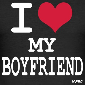 Black i love my boyfriend by wam Men's T-Shirts - Men's Slim Fit T-Shirt