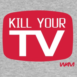 Gråmelerad kill your tv by wam T-shirts - Slim Fit T-shirt herr