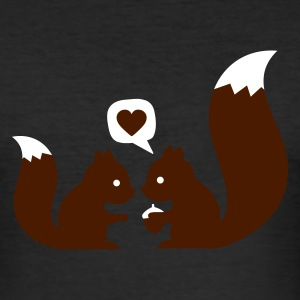 æggeblomme gul squirrels in love - to give each other T-shirts - Herre Slim Fit T-Shirt