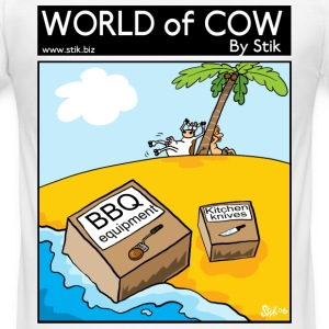 White BBQ Cow Island Men's Tees - Men's Slim Fit T-Shirt