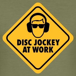 Olijfgroen Disc jockey at work T-shirts - slim fit T-shirt