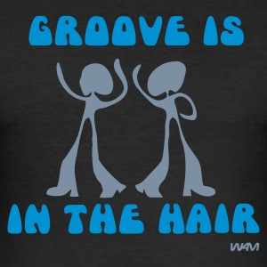 Noir groove in the hair by wam T-shirts - Tee shirt près du corps Homme