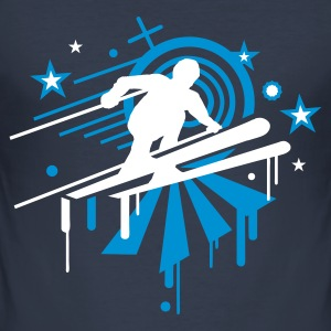 Navy ski Men's T-Shirts - Men's Slim Fit T-Shirt