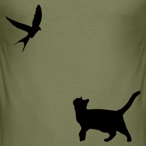 Kakigroen Kat en Vogel 1C T-shirts - slim fit T-shirt