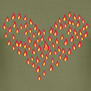 Brun flame - fire - heart - love T-shirts - Herre Slim Fit T-Shirt