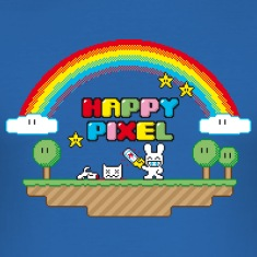 Sky blue Happy Pixel (R-rated) T-Shirts, Nerd T-Shirts