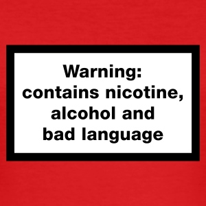 Red Warning: contains, nicotine, alcohol and bad language Men's Tees - Men's Slim Fit T-Shirt