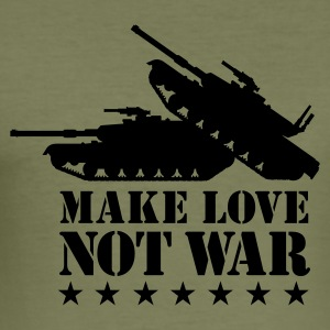 Olijfgroen Make love not war 1clr T-shirts - slim fit T-shirt