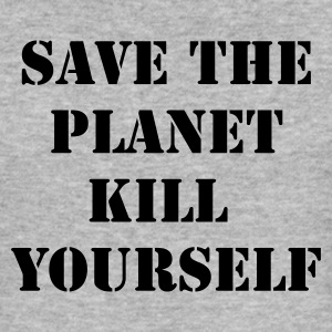 Gråmelerad save the planet kill yourself T-shirts - Slim Fit T-shirt herr