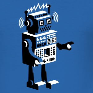 Royal blue roboter retro robot  T-Shirts - Men's Slim Fit T-Shirt