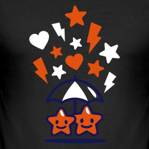 Eigelb stars in love schirm T-Shirts - Männer Slim Fit T-Shirt